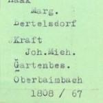 Karteikarte aus der Datei Heiraten nach Frauennamen 1801-1875 h-i-j-k